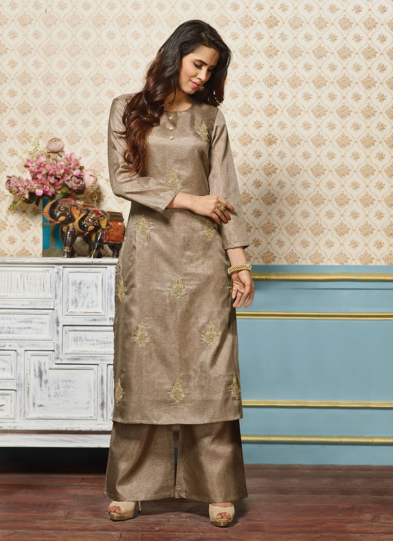 Art Silk Embroidered Beige Party Wear Kurti