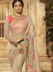 Art Silk Embroidered Beige Traditional Designer Saree