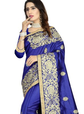 Art Silk Embroidered Blue Classic Designer Saree