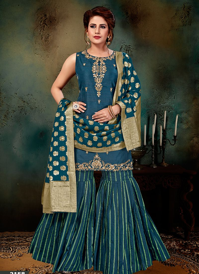 Art Silk Embroidered Blue Designer Palazzo Salwar Suit