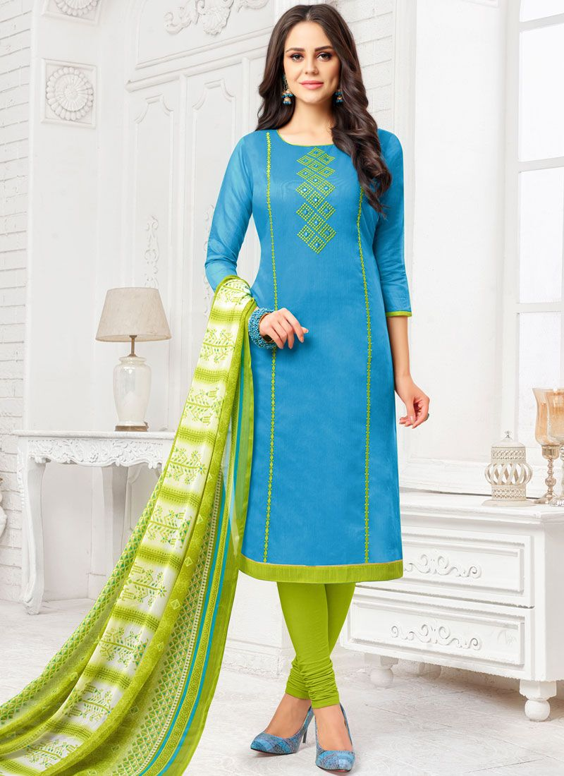 Art Silk Embroidered Blue Salwar Suit
