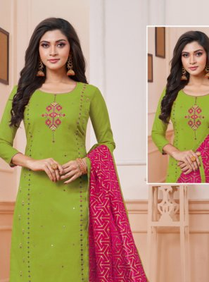 Art Silk Embroidered Churidar Suit