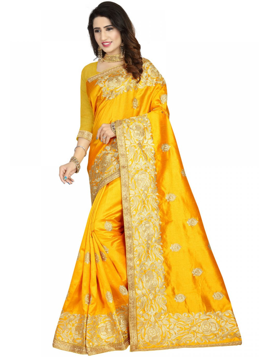 Art Silk Embroidered Classic Designer Saree