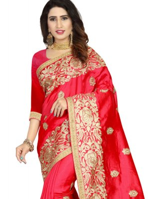 Art Silk Embroidered Classic Designer Saree in Red