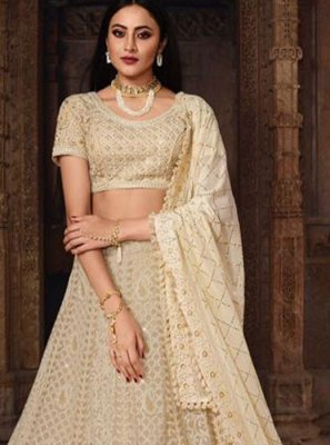 Art Silk Embroidered Cream Lehenga Choli
