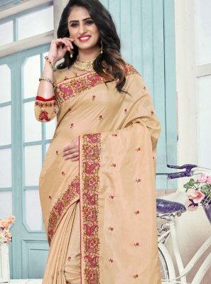 Art Silk Embroidered Cream Traditional Saree