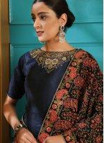 Art Silk Embroidered Designer Gown in Navy Blue