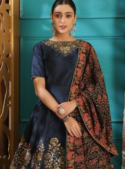 Art Silk Embroidered Designer Gown in Navy Blue
