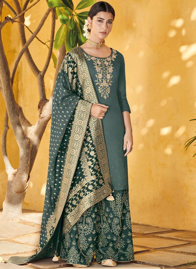 Art Silk Embroidered Designer Pakistani Suit in Sea Green