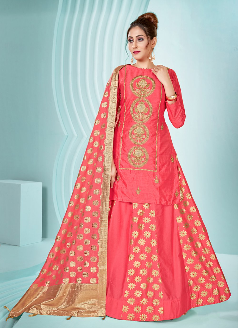 Art Silk Embroidered Designer Palazzo Salwar Suit