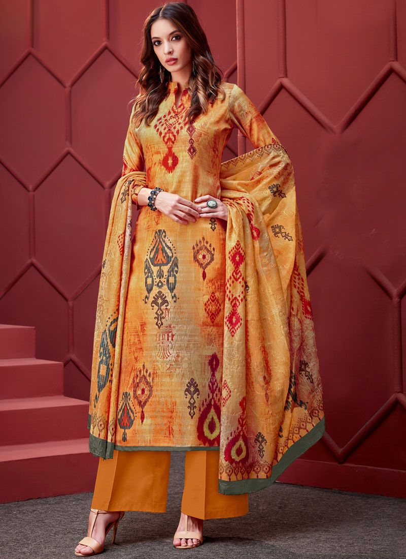 Art Silk Embroidered Designer Palazzo Salwar Suit in Yellow