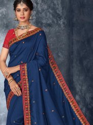 Art Silk Embroidered Designer Saree in Blue