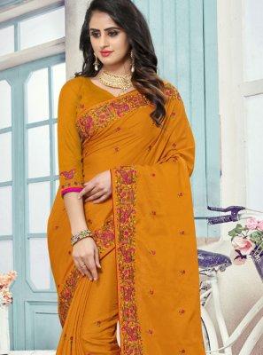 Art Silk Embroidered Designer Traditional Saree in Mustard