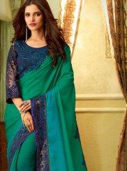 Art Silk Embroidered Green Classic Saree