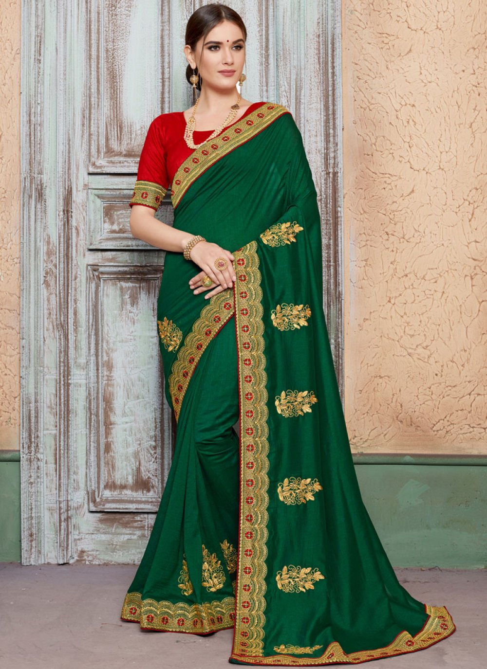 Art Silk Embroidered Green Designer Traditional Saree