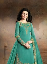 Art Silk Embroidered Green Palazzo Designer Salwar Kameez