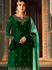 Art Silk Embroidered Green Palazzo Salwar Kameez