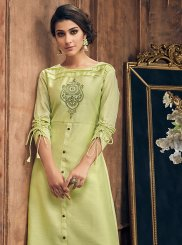 Art Silk Embroidered Green Party Wear Kurti