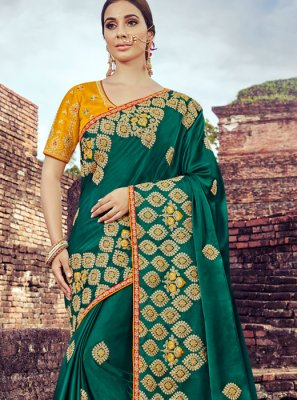 Art Silk Embroidered Green Traditional Designer Saree