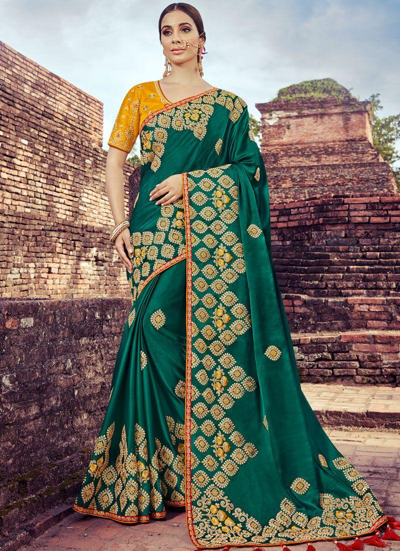 Art Silk Embroidered Green Traditional Designer Saree