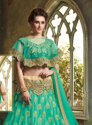 Art Silk Embroidered Green Trendy Lehenga Choli