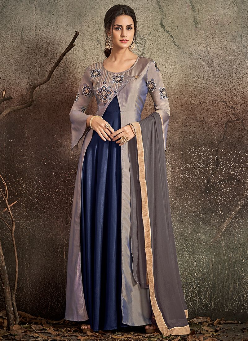 Art Silk Embroidered Grey and Navy Blue Designer Gown