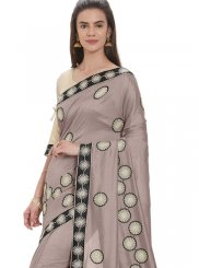 Art Silk Embroidered Grey Designer Traditional Saree