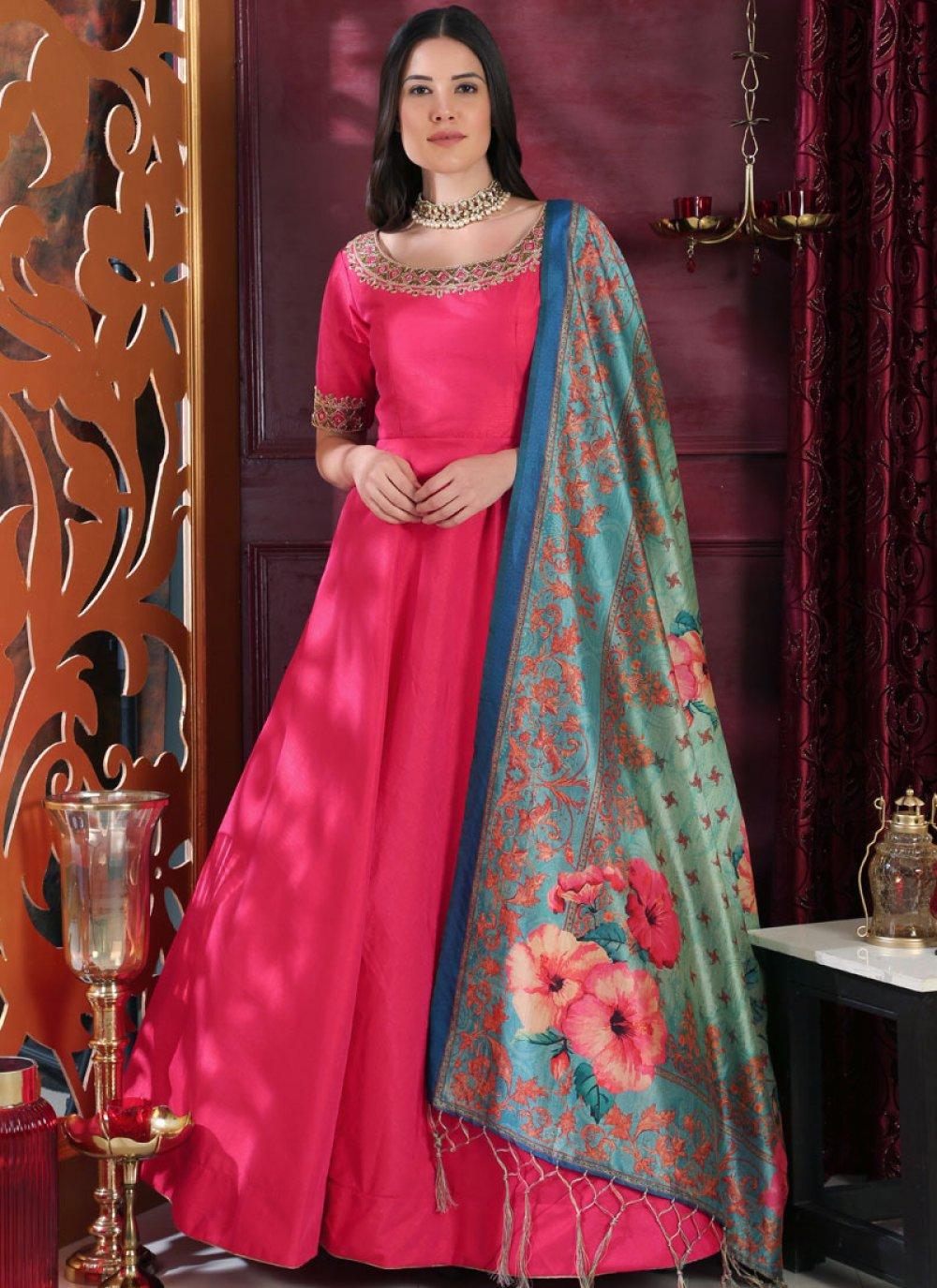 Art Silk Embroidered Hot Pink Designer Gown