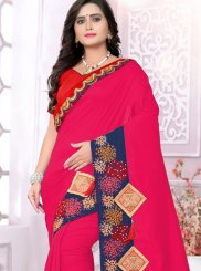 Art Silk Embroidered Hot Pink Designer Traditional Saree