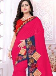 Art Silk Embroidered Hot Pink Designer Traditional Saree