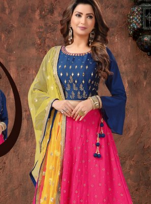 Art Silk Embroidered Hot Pink Readymade Lehenga Choli