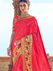 Art Silk Embroidered Hot Pink Traditional Designer Saree