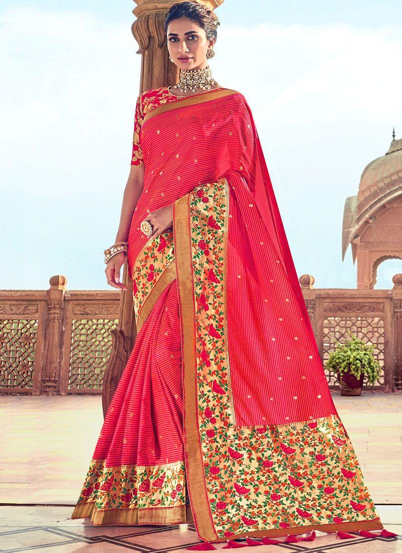 Art Silk Embroidered Hot Pink Traditional Designer Saree