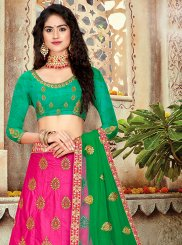 Art Silk Embroidered Lehenga Choli in Hot Pink