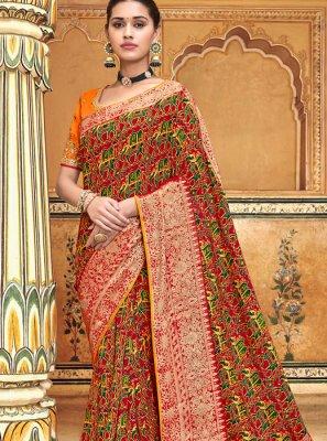 Art Silk Embroidered Multi Colour Traditional Saree