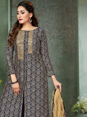 Art Silk Embroidered Navy Blue Designer Palazzo Salwar Suit