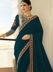 Art Silk Embroidered Navy Blue Traditional Saree