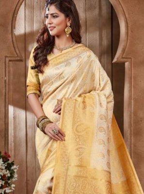 Art Silk Embroidered Off White Designer Traditional Saree