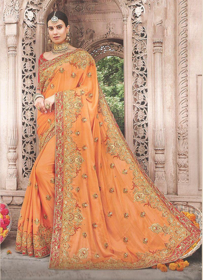 Art Silk Embroidered Orange Trendy Saree