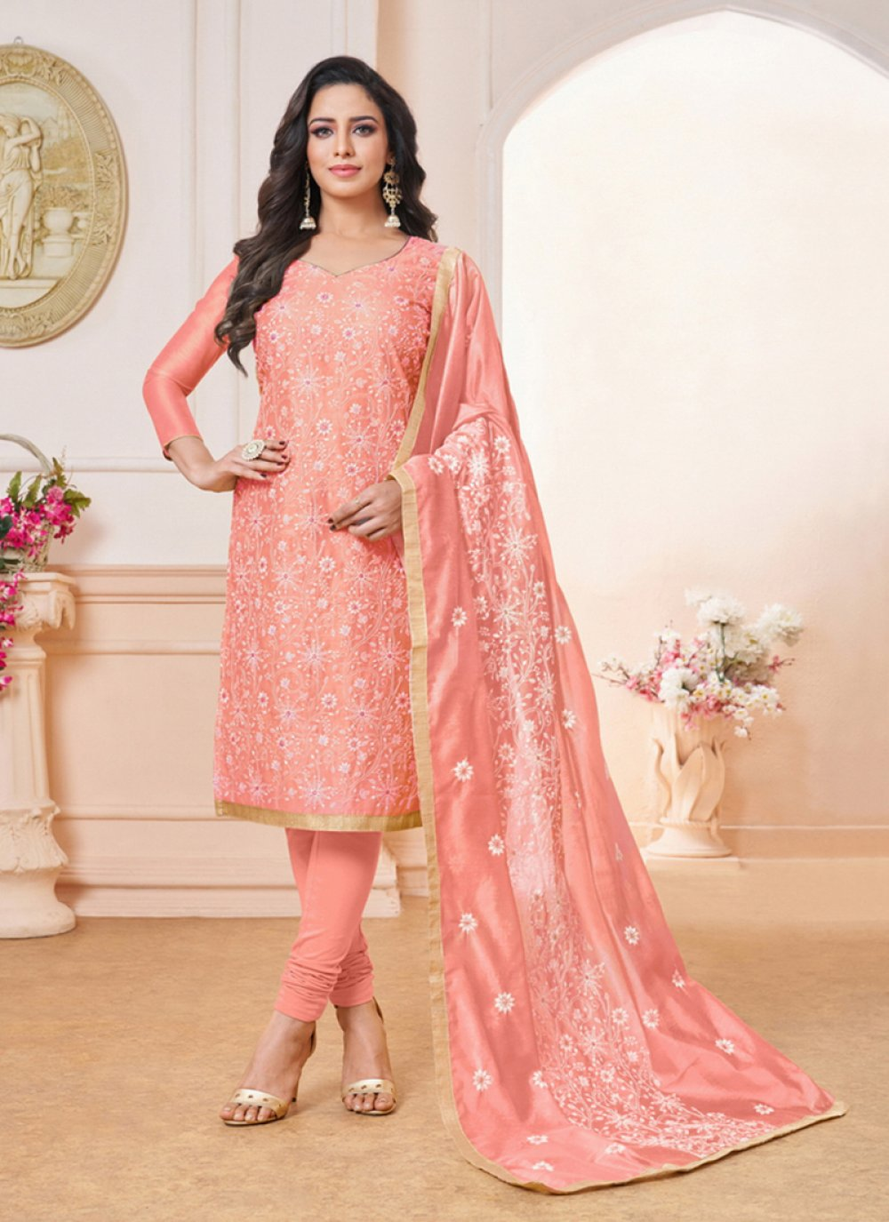 Art Silk Embroidered Pink Churidar Designer Suit