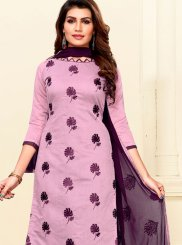 Art Silk Embroidered Pink Churidar Salwar Suit