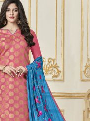 Art Silk Embroidered Pink Churidar Suit