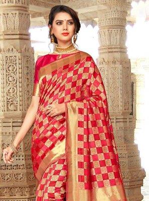 Art Silk Embroidered Pink Designer Traditional Saree