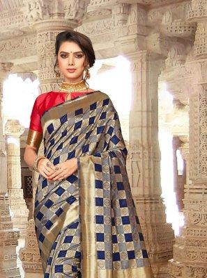 Art Silk Embroidered Blue Designer Traditional Saree