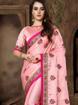 Art Silk Embroidered Pink Traditional Saree