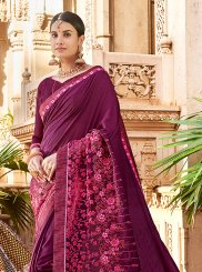 Art Silk Embroidered Purple Saree
