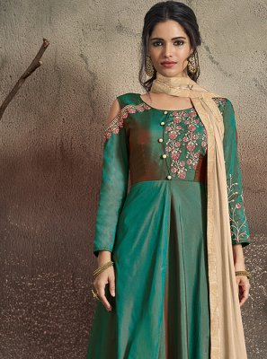 Art Silk Embroidered Readymade Designer Gown in Green