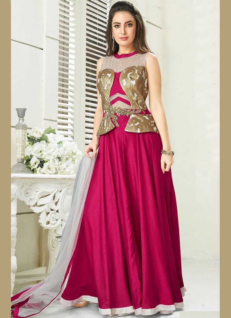 Art Silk Embroidered Readymade Gown
