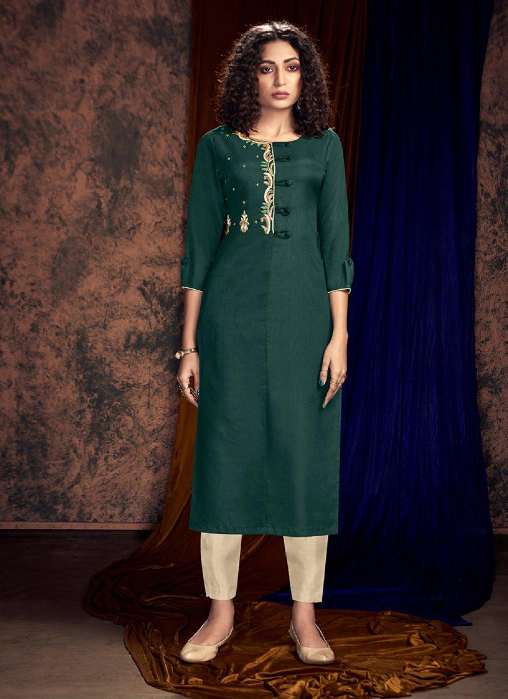 Art Silk Embroidered Readymade Salwar Kameez