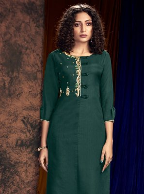 Art Silk Embroidered Readymade Salwar Kameez